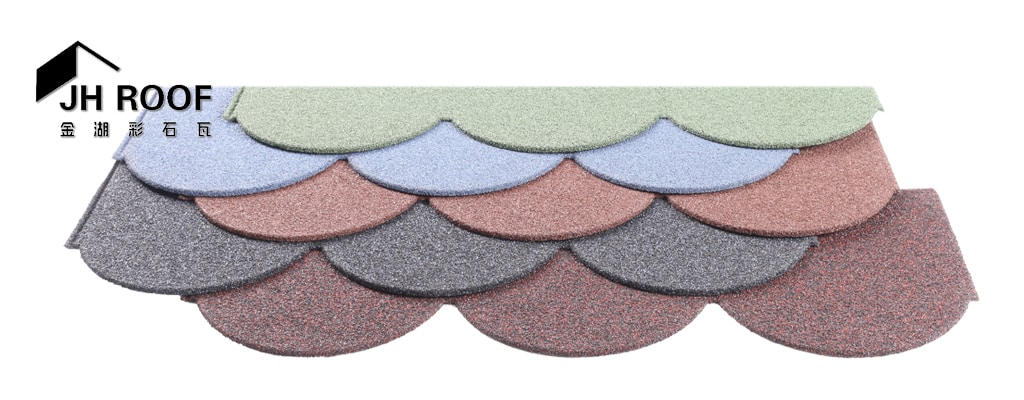 Fish scale stone coated metal roof tile