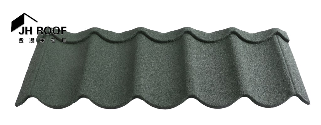 Wave stone coated metal roof tile